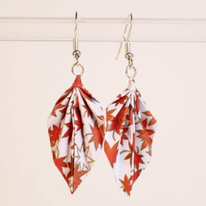 Chiyogami origami earrings red maple leaves