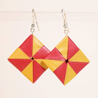red & yellow pinwheel origami earrings