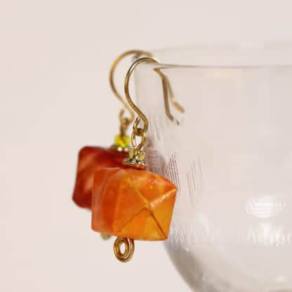 Solar printed orange origami earrings on brass wire