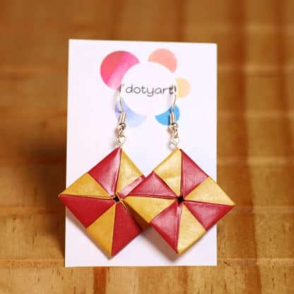 Pinwheel origami earrings