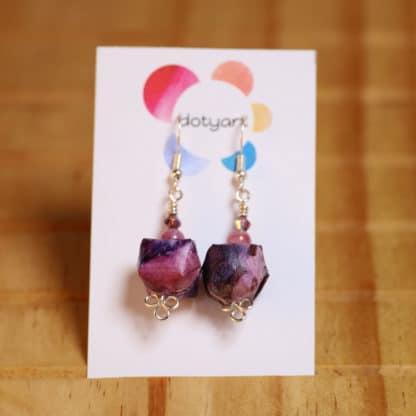 Solar printed purple origami earrings