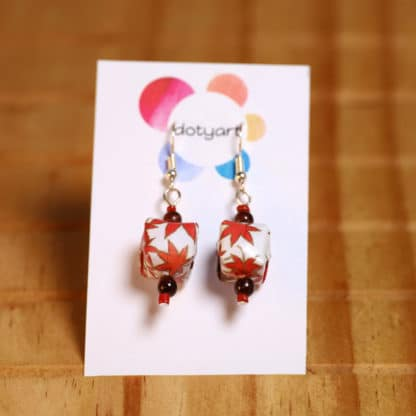 Autumn maple parcels – chiyogami origami earrings