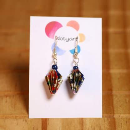 Origami washi earrings – pine cone