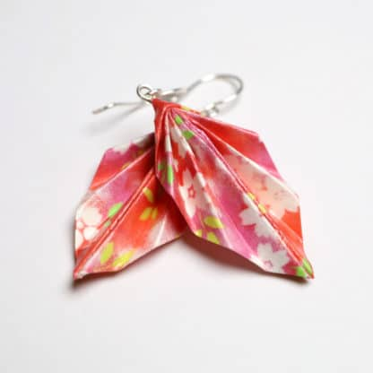 orgami leaf earrings - flowers on pink and red