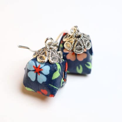 origami chiyogami parcel earrings, flowers on blue