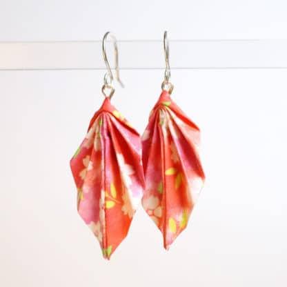 origami chiyogami leaf earrings