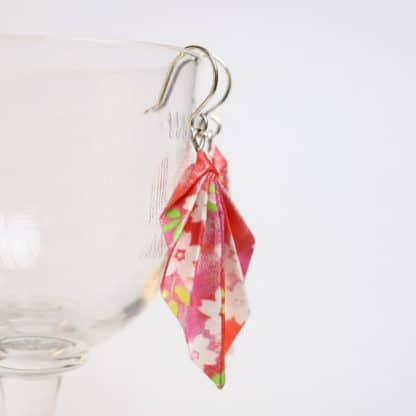 origami leaf earrings - flowers on pink and red