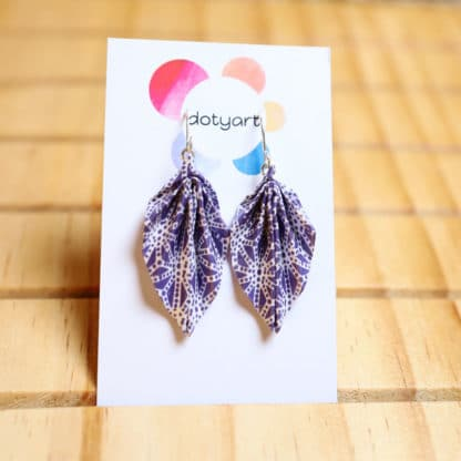 origami leaf earrings - white patterns on blue
