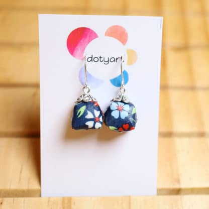 origami chiyogami blue flower parcel earrings